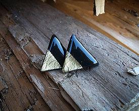 Náušnice - Maxi trojuholníky 25 mm MINIMAL (zlato) - 8771289_