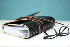 Papiernictvo - Kožený zápisník BLACK A5 - 8771332_