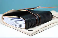 Papiernictvo - Kožený zápisník BLACK A5 - 8771334_