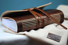 Papiernictvo - Kožený zápisník BROWN A5 - 8771386_