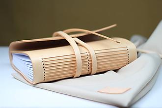 Papiernictvo - Kožený zápisník NATUR A5 - 8771297_