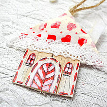 Dekorácie - Autorská Vianočná chalúpka (Zamilované Vianoce (bielo-červená)6ks) - 8769095_