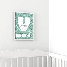 Detské doplnky - Personalizovaný obrázok - Vláčik s bodkami (Zelená) - 8771469_