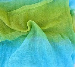 Šály - tyrkisovo-zelený bavlnený šál skladom:-) - 8769278_