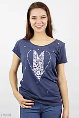 Tričká - Dámske tričko modrý melír SRDCE FOLK - 8768145_