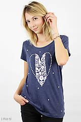 - Dámske tričko modrý melír SRDCE FOLK (L) - 8768149_