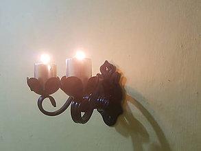 Svietidlá a sviečky - dvojitý kovový svietnik na stenu - 8774823_