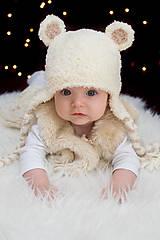 Detské čiapky - Zimná ušianka ĽADOVÝ MEDVEĎ - 8776463_