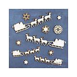 - Výrez Mrazom maľovaný - Sobí záprah s vločkami - 8774425_