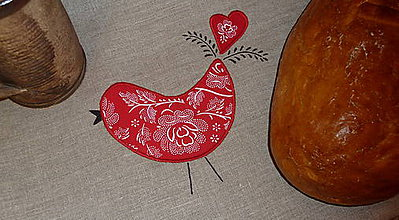 Úžitkový textil - Ľanový chlebník Vtáčik Folk bordúra - 8773107_