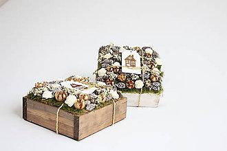 Dekorácie - Drevená krabička-zlaté vianoce - 8774602_