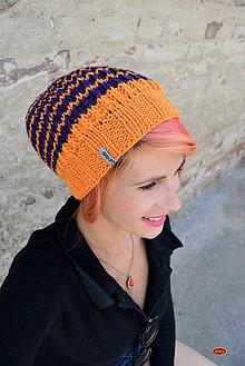 Čiapky - žlutofialová pletená čepice, pruhovaná hučka - 8774220_