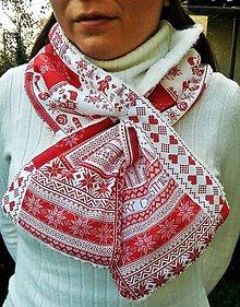 Šály - Hrejivý šál s vianočným motívom - 8774434_