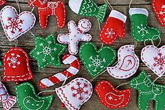 Dekorácie - Vianočné ozdoby - červeno-zeleno biela sada 6ks - 8776407_