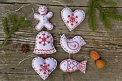 Dekorácie - Vianočné ozdoby - biela sada 6ks - 8776428_