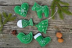Dekorácie - Vianočné ozdoby - zelená sada 6ks - 8776452_