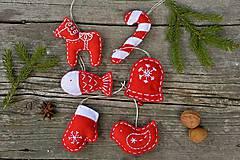 Dekorácie - Vianočné ozdoby - červená sada 6ks - 8776505_