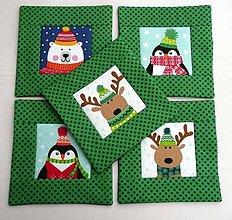 Úžitkový textil - Priatelia za polárnym kruhom - zelené podšálky 4 - 8774005_