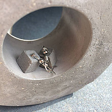 Náušnice - Visiace betónové náušnice Cube Gray (kocka) - 8771490_