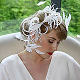 Ozdoby do vlasov - Fascinátor z peria - biely - 8774339_