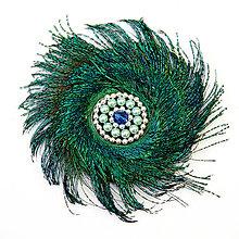 Ozdoby do vlasov - Fascinátor z pávieho peria, okrúhly - 8773044_