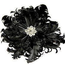Ozdoby do vlasov - Fascinátor z peria - čierny kvet - 8773222_