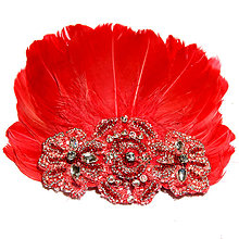 Ozdoby do vlasov - Fascinátor z peria - červený - 8773335_