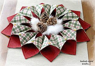 Úžitkový textil - stredový obrus bordovo zelený - 8773452_