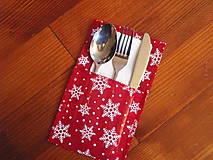 - Vianočný obal na príbor - červený s vločkami - 8774024_