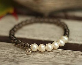 Náramky - Ag 925 náramok záhneda a riečne perly - 8771866_