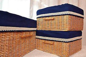 Košíky - Kráľovsky modré boxy IWUSKA / sada - 8773366_