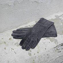 Rukavice - Šedé dámské semišové rukavice bezpodšívkové - delší - 8775846_