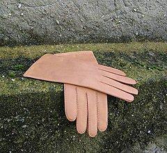 Rukavice - Béžové rukavice s hedvábnou podšívkou - ručně šité - 8775880_