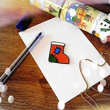 Magnetky - ★ Vianočná magnetka cartoon (ponožka) - 8773029_