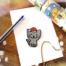 Magnetky - ★ Vianočná magnetka cartoon (mačička) - 8773031_