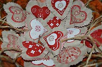 Dekorácie - Vianočné ozdoby - srdiečka vidiecke - 8782194_