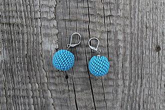Náušnice - náušnice z obšívaných guličiek modré - 8779697_