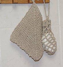 Úžitkový textil - Malá kúpeľňová sada - žinka a vrecúško s mydlom - 8778219_