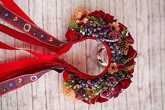 Ozdoby do vlasov - Folk kvetinová parta z kolekcie Black&Red folk - 8782181_