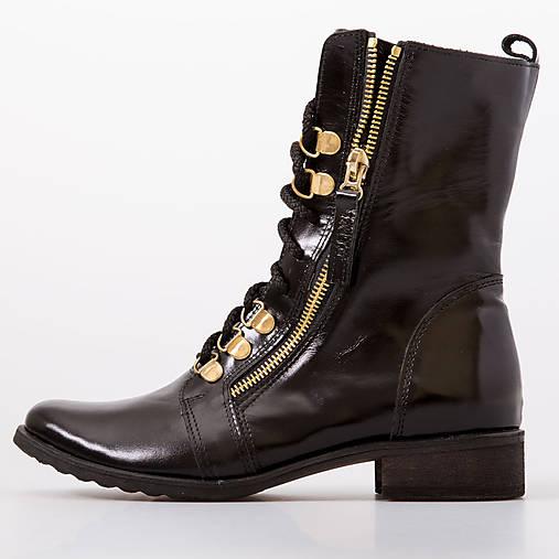 Čierne čipky s topánkami so zlatým bočným zipsom   chalany - SAShE ... 7ebb298b325