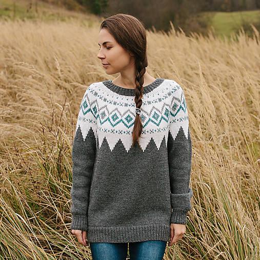 7df00ad29a4f šedý sveter s nórskym vzorom   Kreatvory - SAShE.sk - Handmade ...