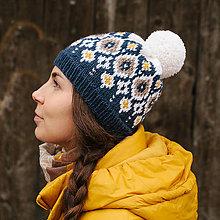 Čiapky - modrá dámska čiapka s nórskym vzorom - 8780891_