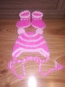 Detské súpravy - Háčkovaný set - čiapka a čižmičky pre novorodeniatko - 8779912_