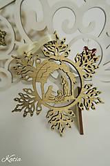 Vianočná drevená zlatá ozdoba svätá rodina