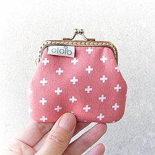 Peňaženky - Peňaženka mini Krížiky na staroružovej - 8777223_