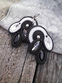 Náušnice - Lístočky - šujtášové náušnice (Čierno-biela) - 8782144_