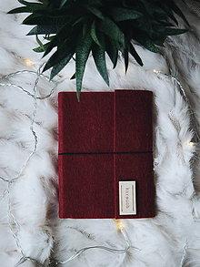 Papiernictvo - A6 bordový zápisník z filcu - 8779362_