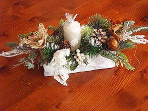 Dekorácie - Prírodná vianočná dekorácia - svietnik - 8777392_