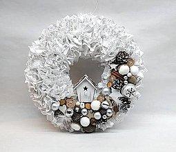 Dekorácie - Strapatý vianočný veniec bielo - strieborný - 8778834_