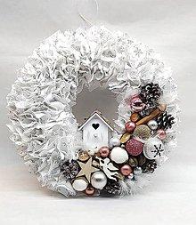 Dekorácie - Strapatý vianočný veniec staroružový - 8778888_